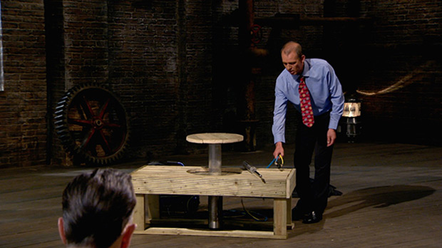 Jim Jemison pitching his patented space saving table