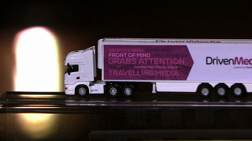 Driven media truck advertising example.